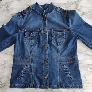 Jean Jacket with Military Style Detail size Large
